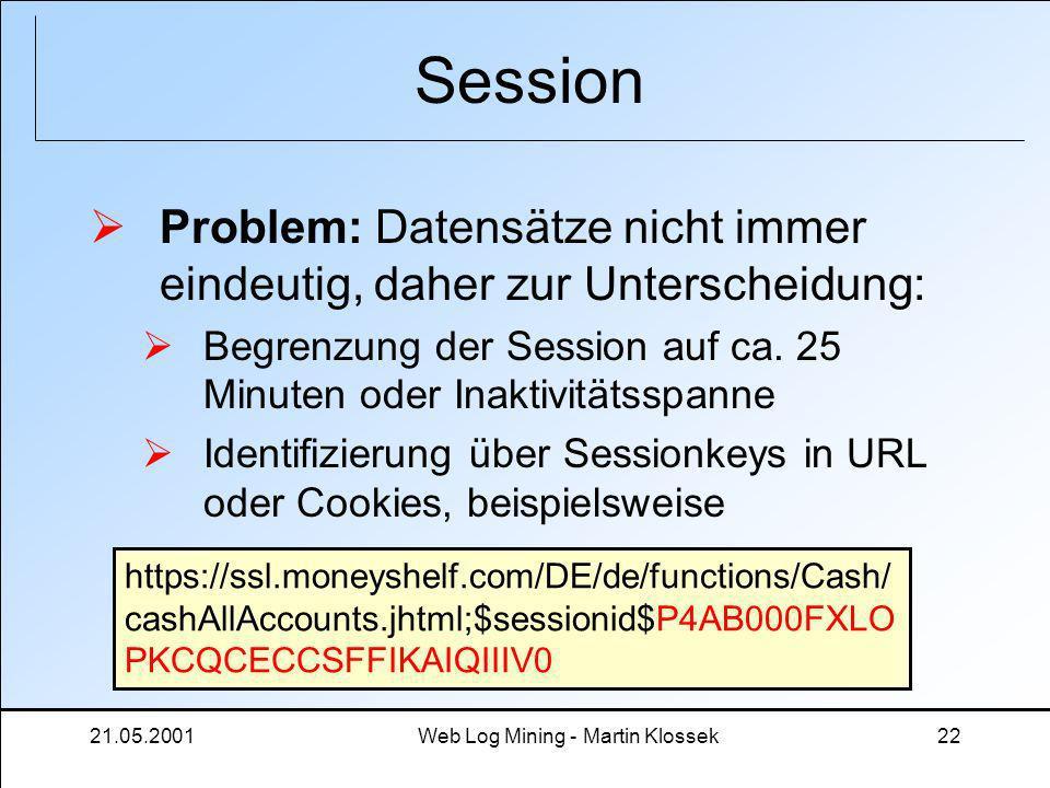 21.05.2001Web Log Mining - Martin Klossek22 Session Problem: Datensätze nicht immer eindeutig, daher zur Unterscheidung: Begrenzung der Session auf ca