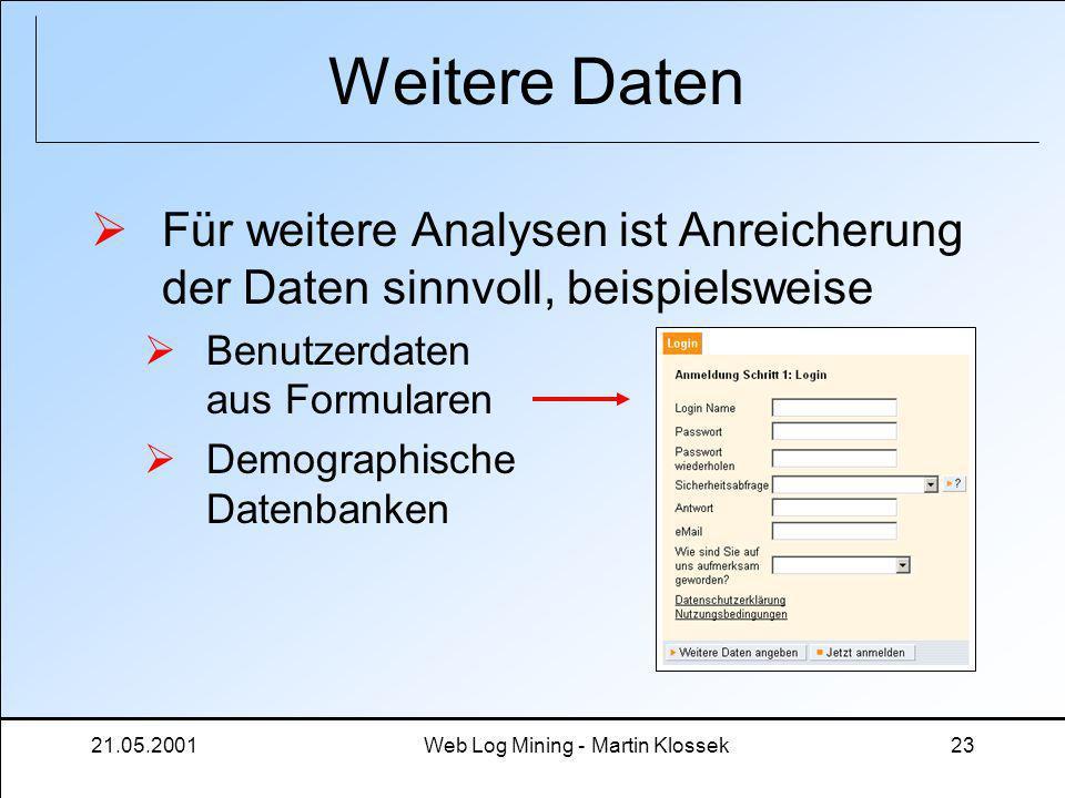21.05.2001Web Log Mining - Martin Klossek23 Weitere Daten Für weitere Analysen ist Anreicherung der Daten sinnvoll, beispielsweise Benutzerdaten aus F