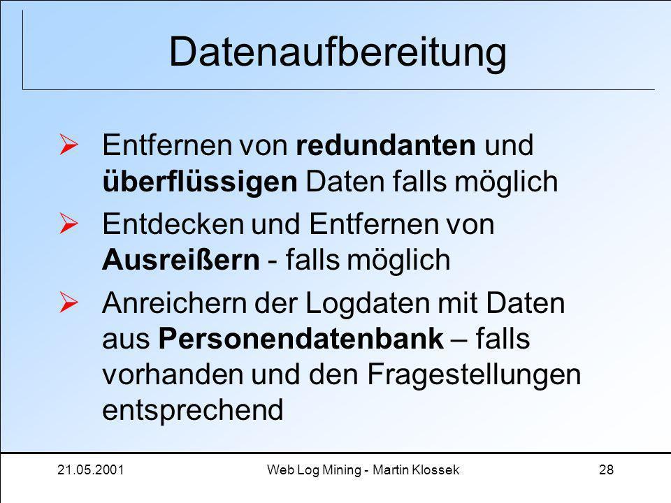 21.05.2001Web Log Mining - Martin Klossek28 Datenaufbereitung Entfernen von redundanten und überflüssigen Daten falls möglich Entdecken und Entfernen