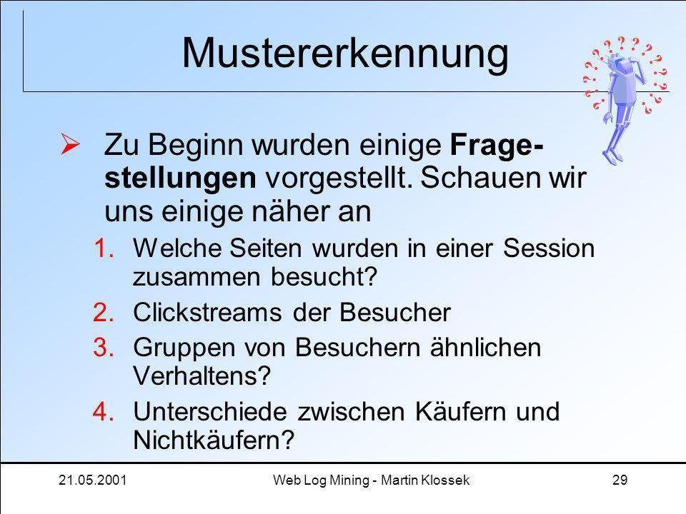 21.05.2001Web Log Mining - Martin Klossek29 Mustererkennung Zu Beginn wurden einige Frage- stellungen vorgestellt. Schauen wir uns einige näher an 1.W