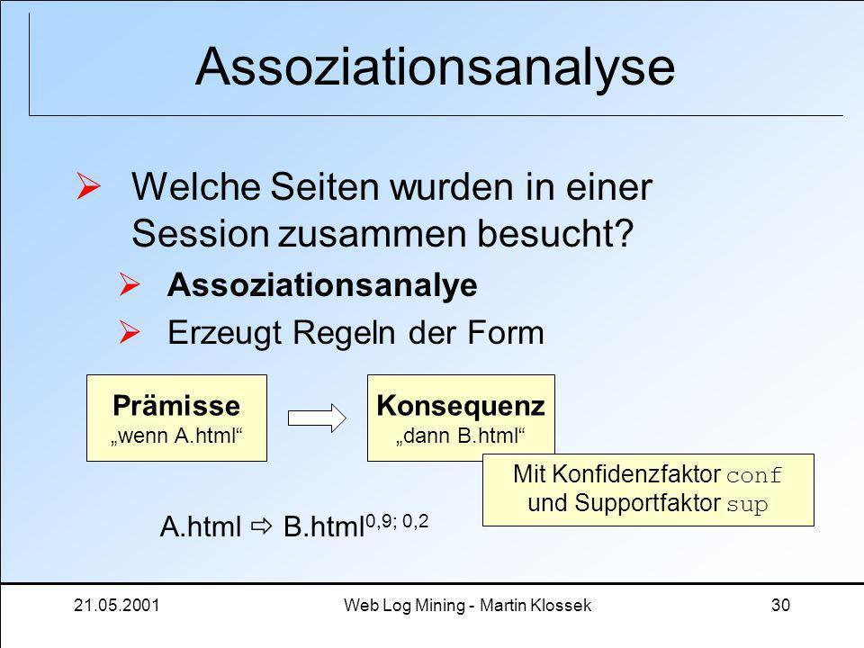 21.05.2001Web Log Mining - Martin Klossek30 Assoziationsanalyse Welche Seiten wurden in einer Session zusammen besucht? Assoziationsanalye Erzeugt Reg