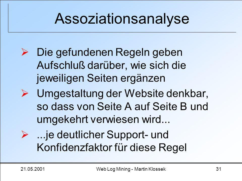 21.05.2001Web Log Mining - Martin Klossek31 Assoziationsanalyse Die gefundenen Regeln geben Aufschluß darüber, wie sich die jeweiligen Seiten ergänzen