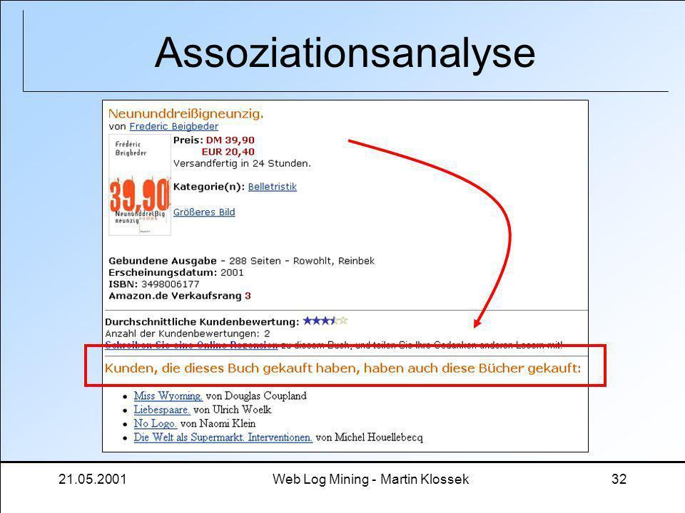 21.05.2001Web Log Mining - Martin Klossek32 Assoziationsanalyse