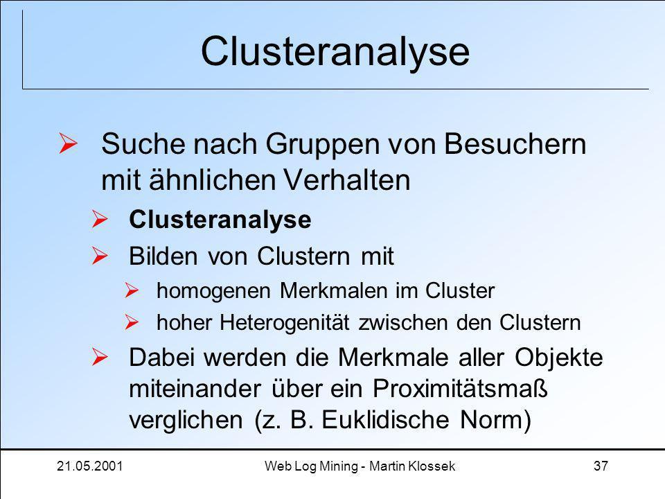 21.05.2001Web Log Mining - Martin Klossek37 Clusteranalyse Suche nach Gruppen von Besuchern mit ähnlichen Verhalten Clusteranalyse Bilden von Clustern