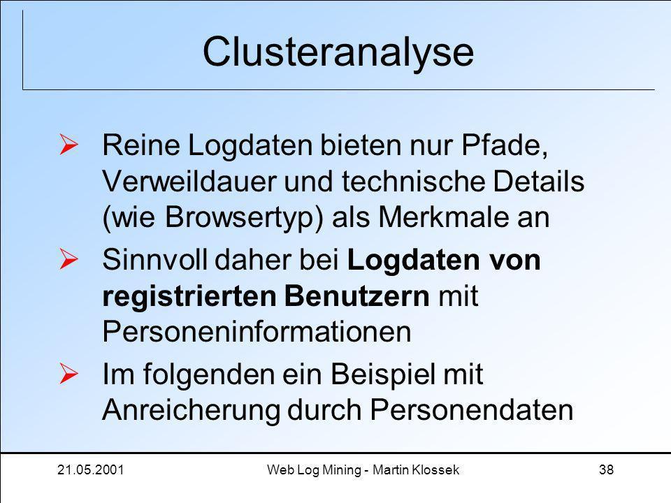 21.05.2001Web Log Mining - Martin Klossek38 Clusteranalyse Reine Logdaten bieten nur Pfade, Verweildauer und technische Details (wie Browsertyp) als M