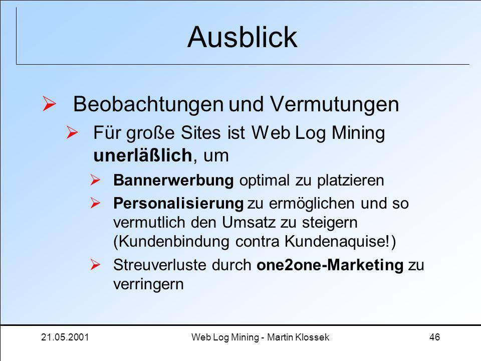21.05.2001Web Log Mining - Martin Klossek46 Ausblick Beobachtungen und Vermutungen Für große Sites ist Web Log Mining unerläßlich, um Bannerwerbung op