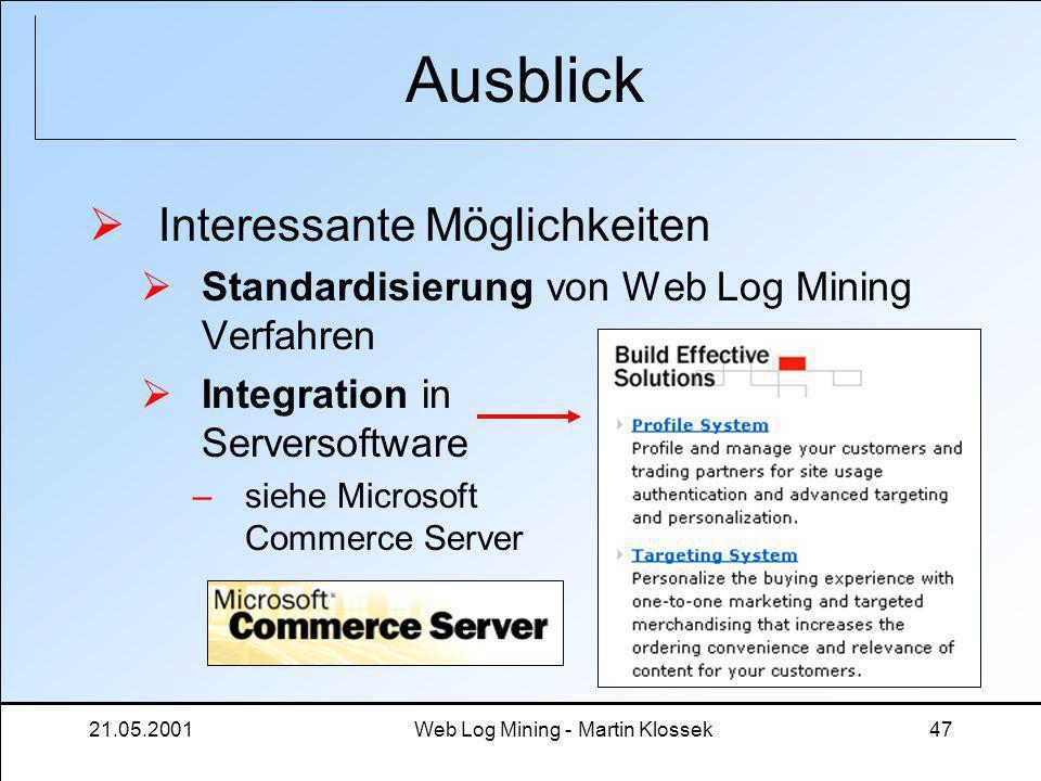21.05.2001Web Log Mining - Martin Klossek47 Ausblick Interessante Möglichkeiten Standardisierung von Web Log Mining Verfahren Integration in Serversof
