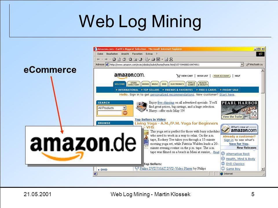 21.05.2001Web Log Mining - Martin Klossek5 Web Log Mining eCommerce