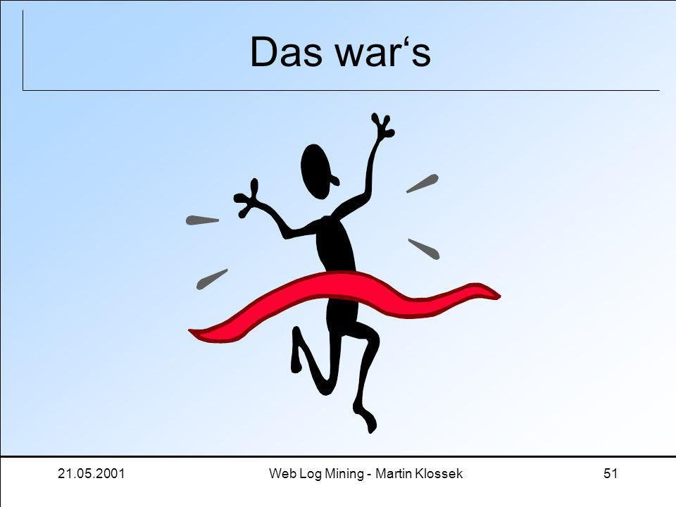 21.05.2001Web Log Mining - Martin Klossek51 Das wars