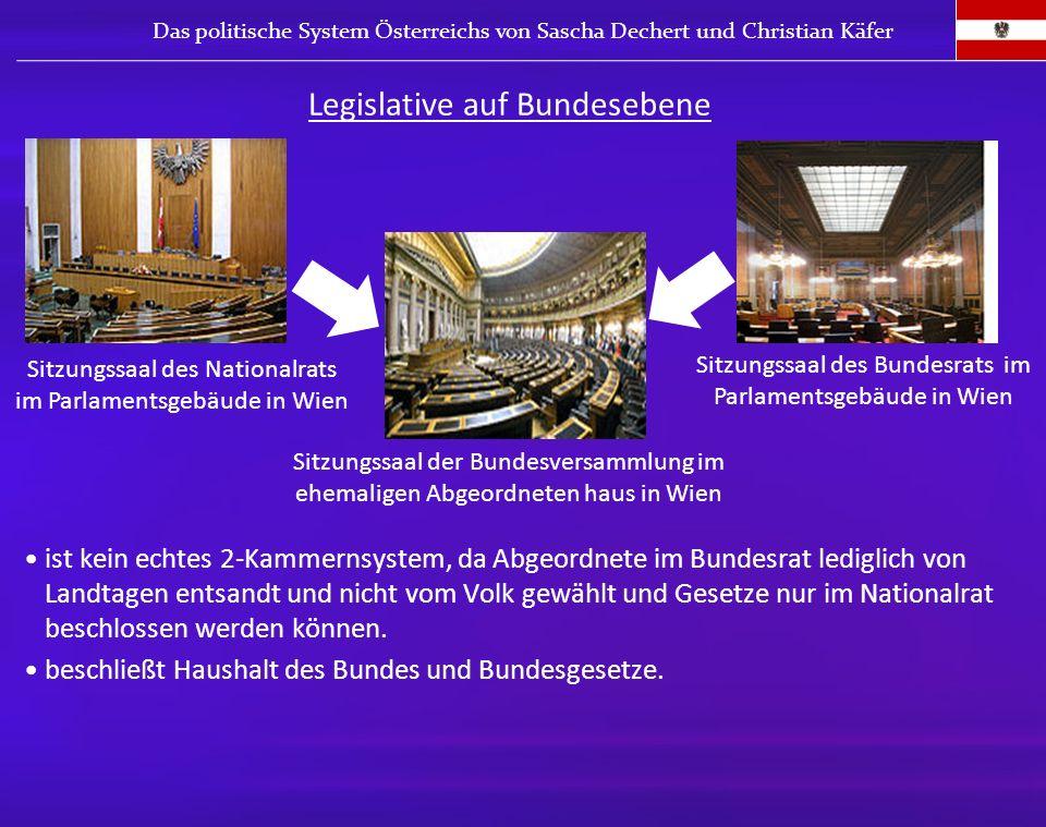ist kein echtes 2-Kammernsystem, da Abgeordnete im Bundesrat lediglich von Landtagen entsandt und nicht vom Volk gewählt und Gesetze nur im Nationalra