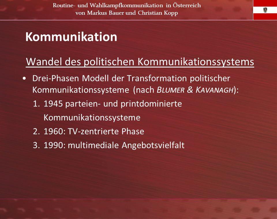 Wandel des politischen Kommunikationssystems Drei-Phasen Modell der Transformation politischer Kommunikationssysteme (nach B LUMER & K AVANAGH ): 1. 1
