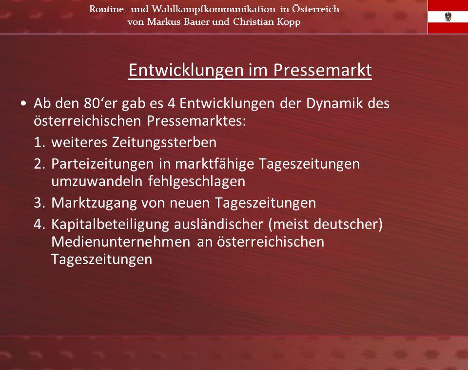 Entwicklungen im Pressemarkt Ab den 80er gab es 4 Entwicklungen der Dynamik des österreichischen Pressemarktes: 1.weiteres Zeitungssterben 2.Parteizei