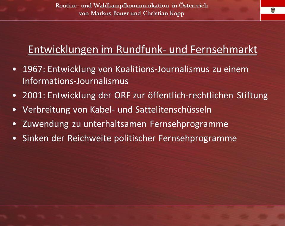 Entwicklungen im Rundfunk- und Fernsehmarkt 1967: Entwicklung von Koalitions-Journalismus zu einem Informations-Journalismus 2001: Entwicklung der ORF