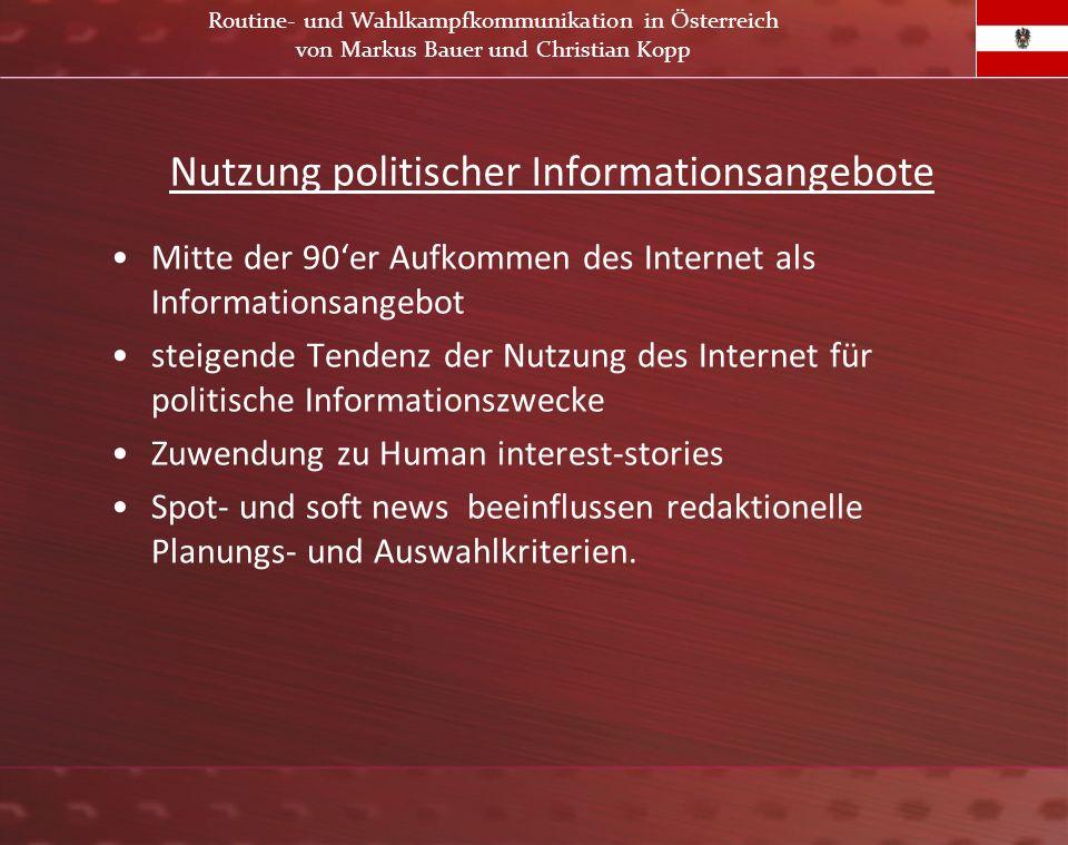 Nutzung politischer Informationsangebote Mitte der 90er Aufkommen des Internet als Informationsangebot steigende Tendenz der Nutzung des Internet für