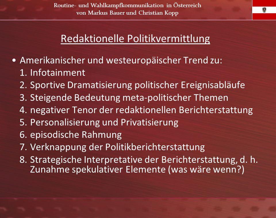 Redaktionelle Politikvermittlung Amerikanischer und westeuropäischer Trend zu: 1.Infotainment 2.Sportive Dramatisierung politischer Ereignisabläufe 3.