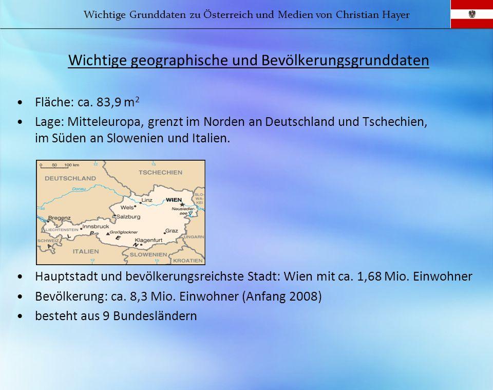 Wichtige geographische und Bevölkerungsgrunddaten Fläche: ca. 83,9 m 2 Lage: Mitteleuropa, grenzt im Norden an Deutschland und Tschechien, im Süden an