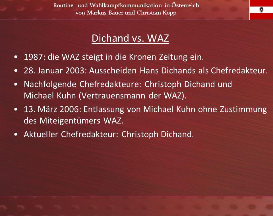 Dichand vs. WAZ 1987: die WAZ steigt in die Kronen Zeitung ein. 28. Januar 2003: Ausscheiden Hans Dichands als Chefredakteur. Nachfolgende Chefredakte