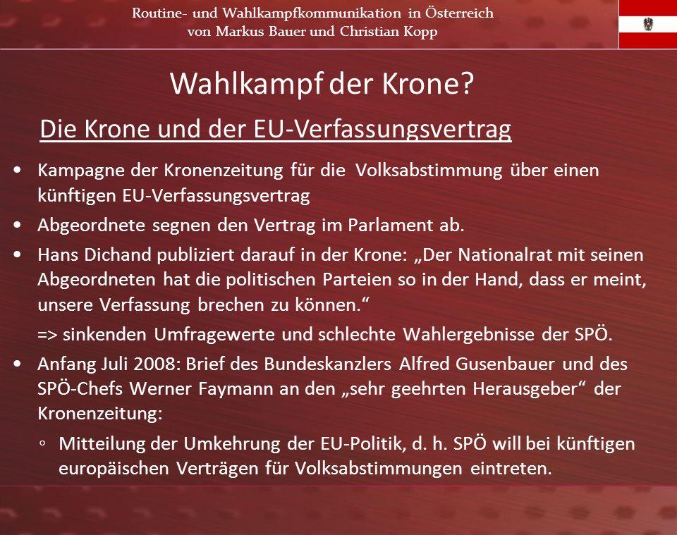 Kampagne der Kronenzeitung für die Volksabstimmung über einen künftigen EU-Verfassungsvertrag Abgeordnete segnen den Vertrag im Parlament ab. Hans Dic