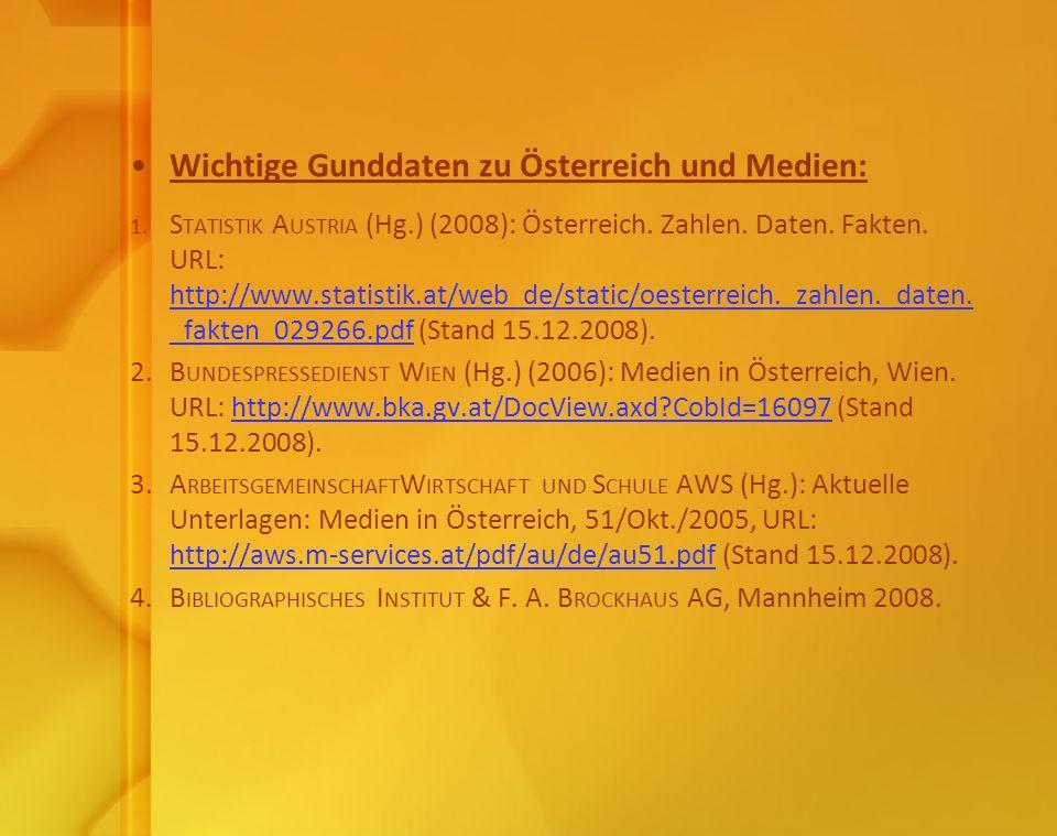 Wichtige Gunddaten zu Österreich und Medien: 1. S TATISTIK A USTRIA (Hg.) (2008): Österreich. Zahlen. Daten. Fakten. URL: http://www.statistik.at/web_