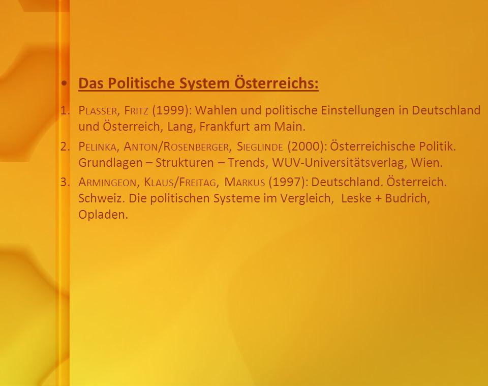 Das Politische System Österreichs: 1. P LASSER, F RITZ (1999): Wahlen und politische Einstellungen in Deutschland und Österreich, Lang, Frankfurt am M