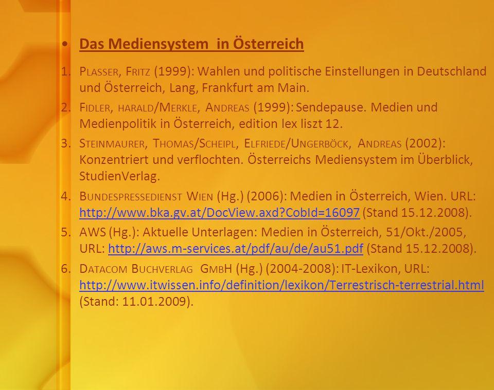 Das Mediensystem in Österreich 1. P LASSER, F RITZ (1999): Wahlen und politische Einstellungen in Deutschland und Österreich, Lang, Frankfurt am Main.