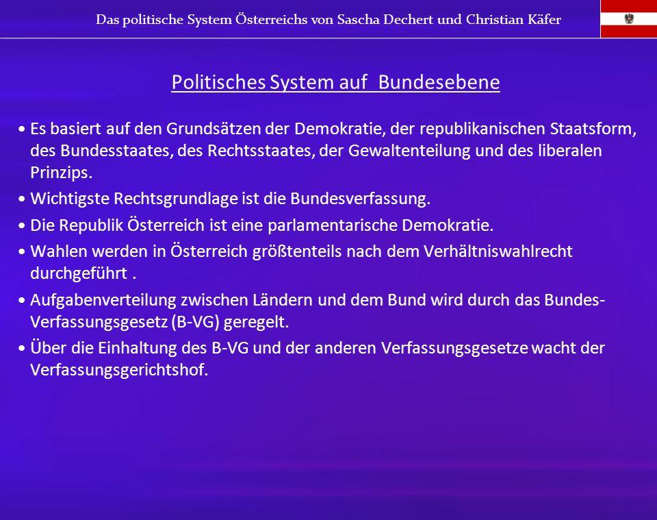 Politisches System auf Bundesebene Es basiert auf den Grundsätzen der Demokratie, der republikanischen Staatsform, des Bundesstaates, des Rechtsstaate