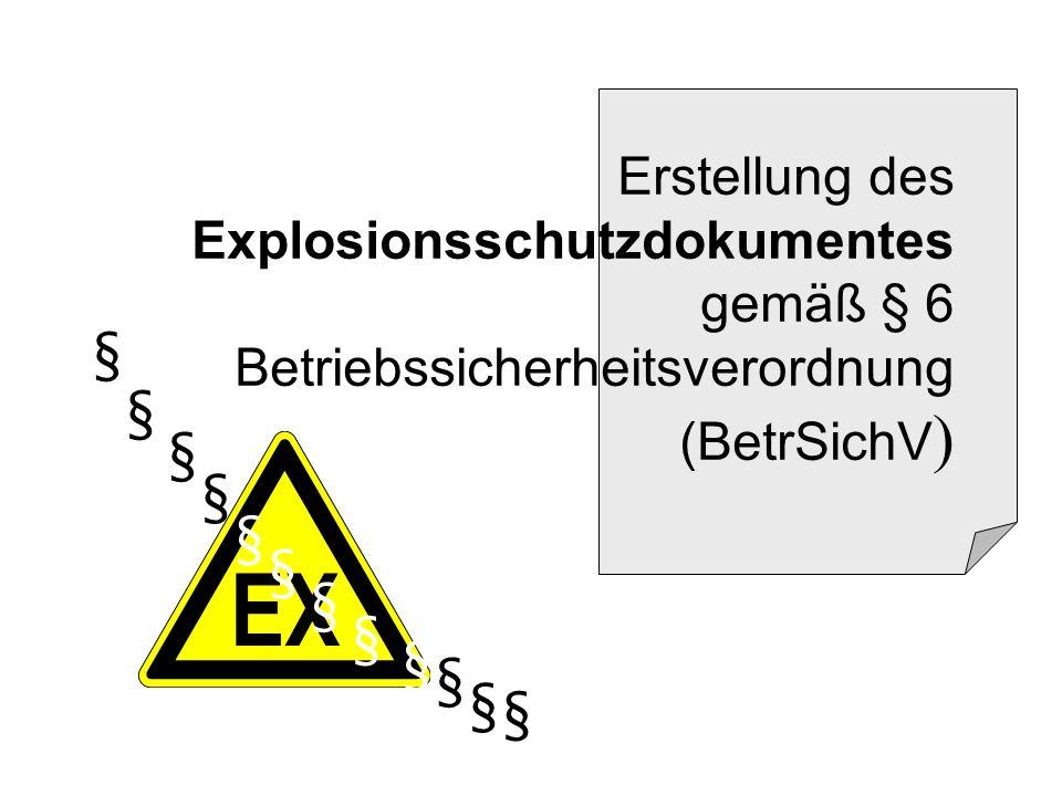 2 § 6 BetrSichV: Handlungsanlass Ein Explosionsschutzdokument ist zu erstellen, wenn Arbeitnehmer durch explosionsfähige Atmosphäre gefährdetet werden können.
