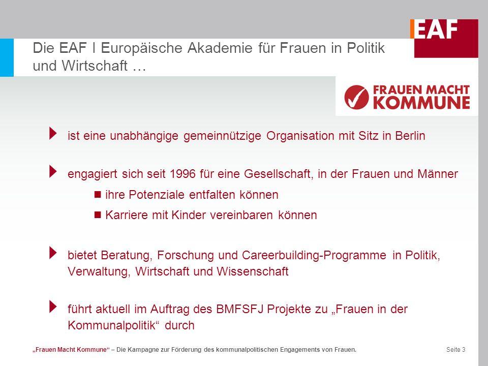 Seite 3Frauen Macht Kommune – Die Kampagne zur Förderung des kommunalpolitischen Engagements von Frauen. Die EAF I Europäische Akademie für Frauen in