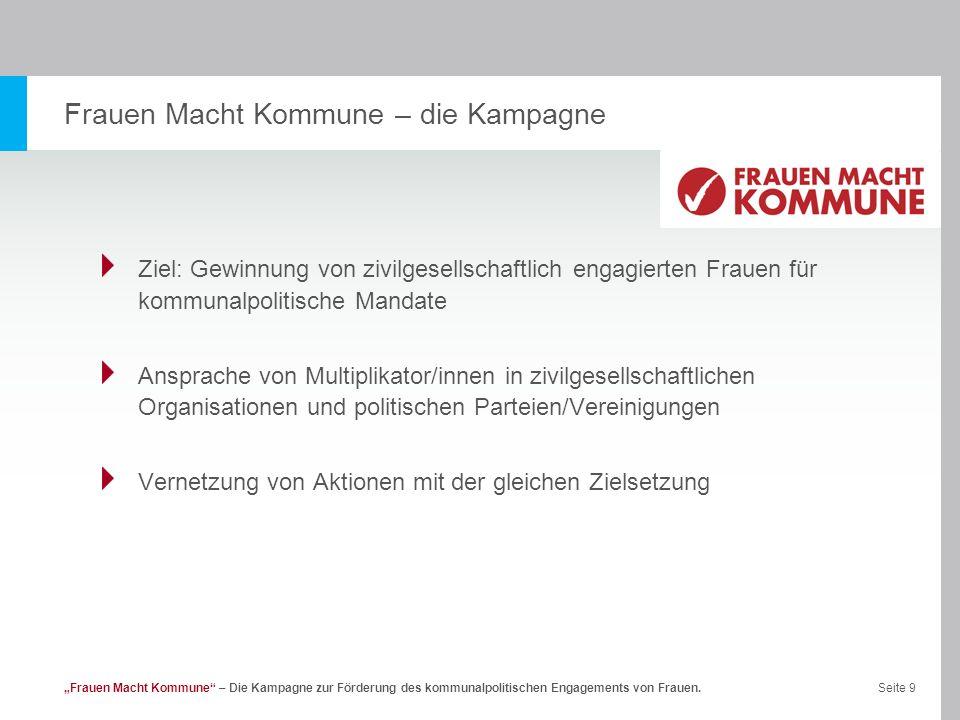Seite 10Frauen Macht Kommune – Die Kampagne zur Förderung des kommunalpolitischen Engagements von Frauen.