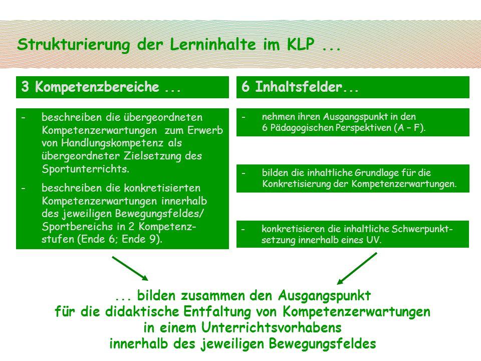 Strukturierung der Lerninhalte im KLP... 6 Inhaltsfelder...3 Kompetenzbereiche... -beschreiben die übergeordneten Kompetenzerwartungen zum Erwerb von