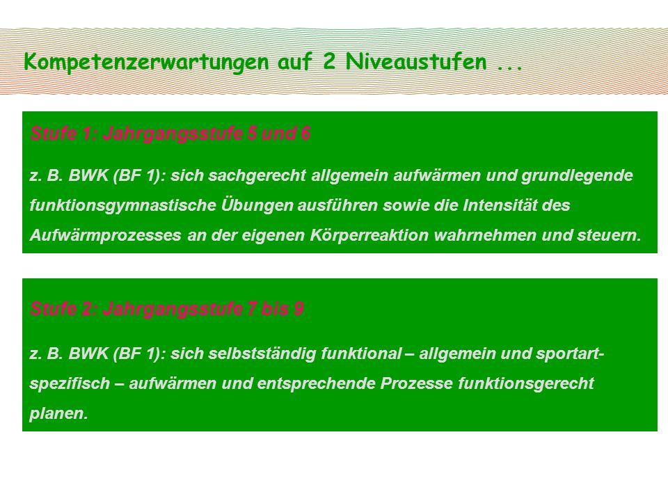 Kompetenzerwartungen auf 2 Niveaustufen... Stufe 1: Jahrgangsstufe 5 und 6 z. B. BWK (BF 1): sich sachgerecht allgemein aufwärmen und grundlegende fun
