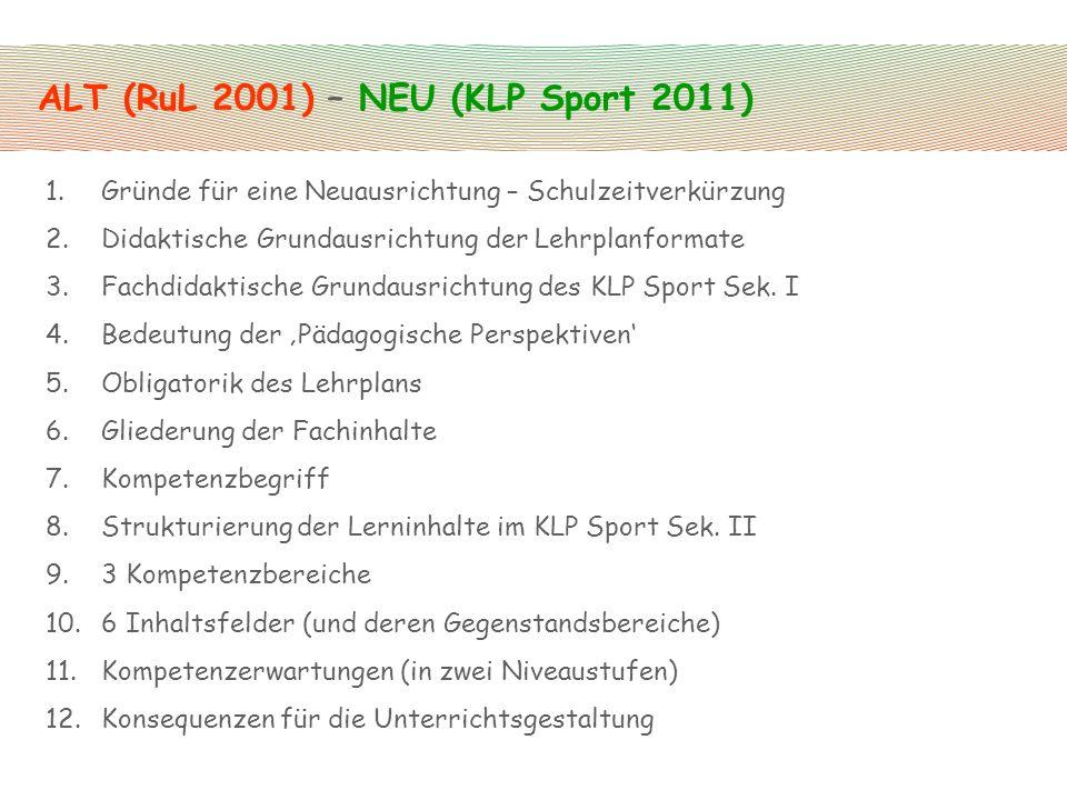 ALT (RuL 2001) – NEU (KLP Sport 2011) 1.Gründe für eine Neuausrichtung – Schulzeitverkürzung 2.Didaktische Grundausrichtung der Lehrplanformate 3.Fach