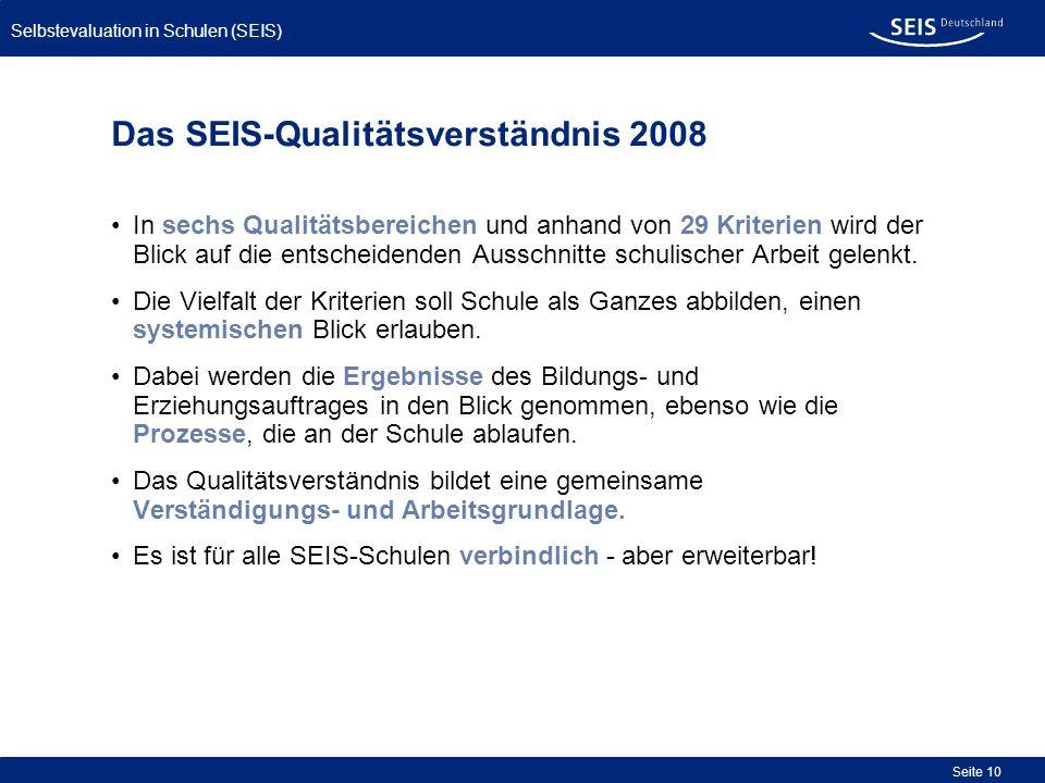 Bessere Qualität in allen Schulen Selbstevaluation in Schulen (SEIS) Seite 10 Das SEIS-Qualitätsverständnis 2008 In sechs Qualitätsbereichen und anhan