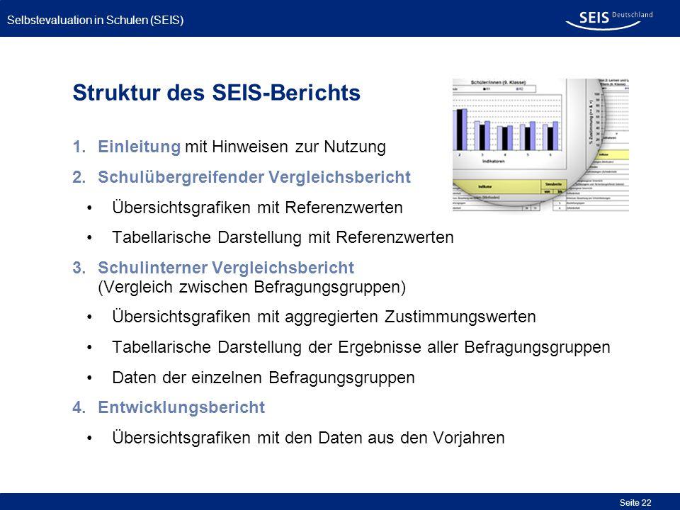 Bessere Qualität in allen Schulen Selbstevaluation in Schulen (SEIS) Seite 22 Struktur des SEIS-Berichts 1.Einleitung mit Hinweisen zur Nutzung 2.Schu