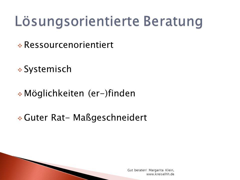 Ressourcenorientiert Systemisch Möglichkeiten (er-)finden Guter Rat- Maßgeschneidert Gut beraten! Margarita Klein, www.kreiselhh.de