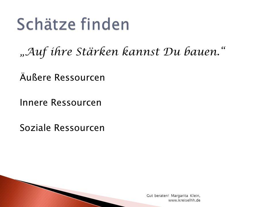 Auf ihre Stärken kannst Du bauen. Äußere Ressourcen Innere Ressourcen Soziale Ressourcen Gut beraten! Margarita Klein, www.kreiselhh.de
