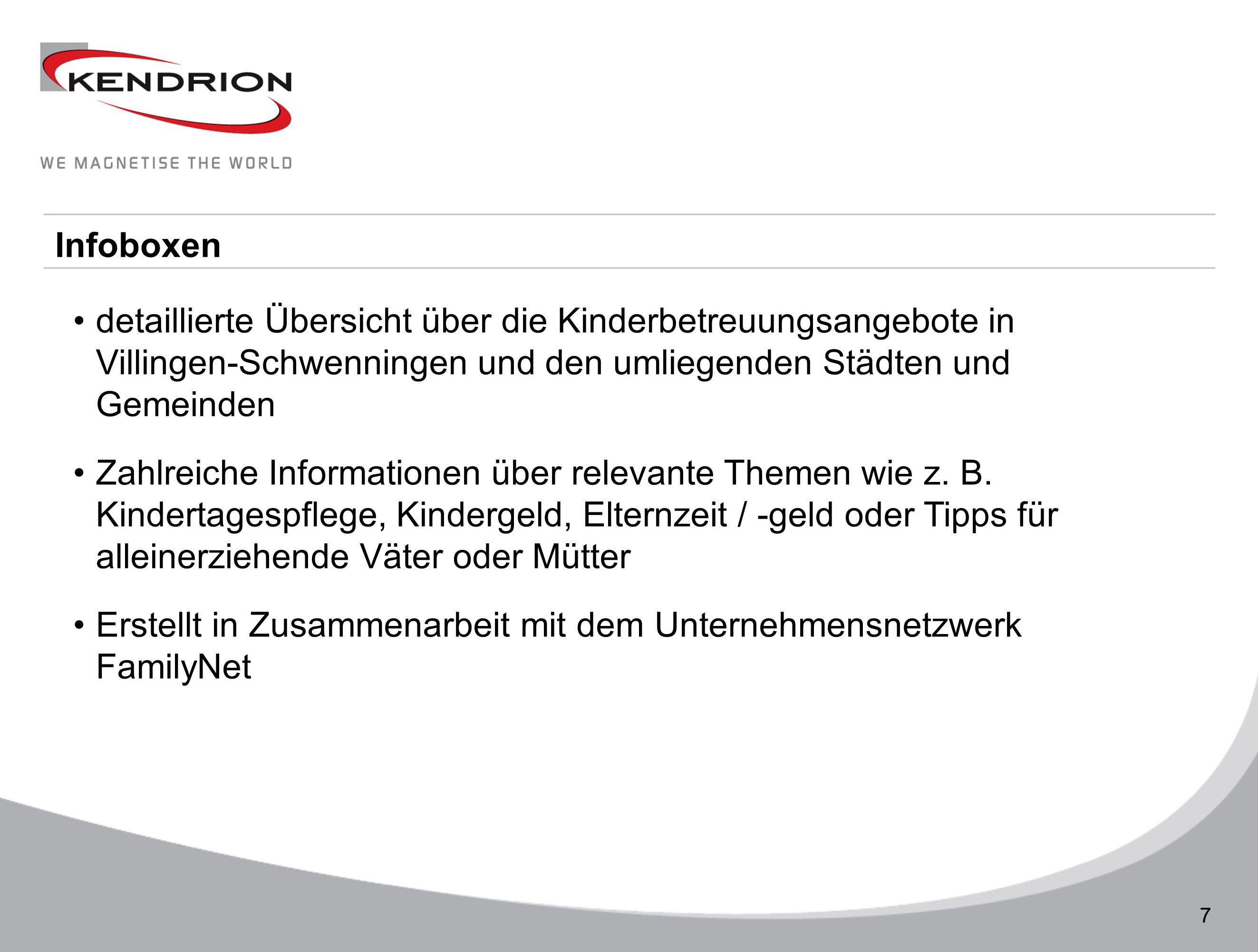 Technische Daten 7 Infoboxen detaillierte Übersicht über die Kinderbetreuungsangebote in Villingen-Schwenningen und den umliegenden Städten und Gemein
