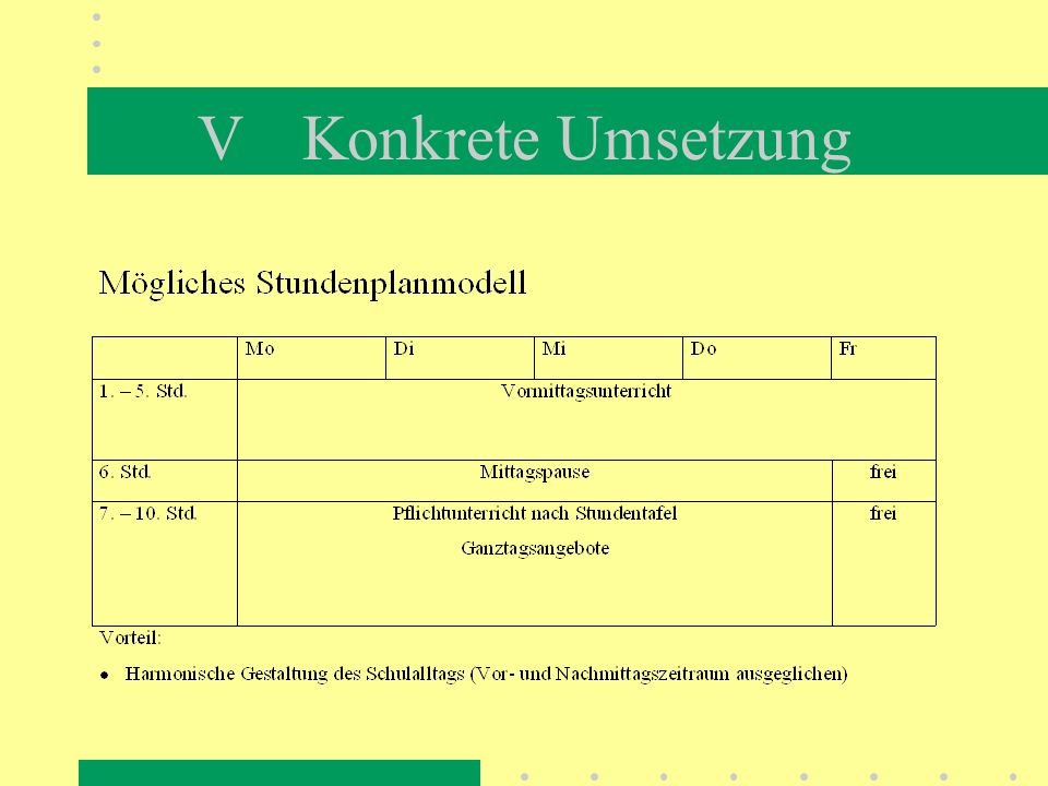 IV Organisation Zum Ganztagsschulbetrieb gehören an mindestens 3 Tagen der vollen Unterrichtswoche...... Unterricht entsprechend der Erlasslage,... ei