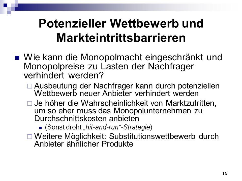 15 Potenzieller Wettbewerb und Markteintrittsbarrieren Wie kann die Monopolmacht eingeschränkt und Monopolpreise zu Lasten der Nachfrager verhindert w