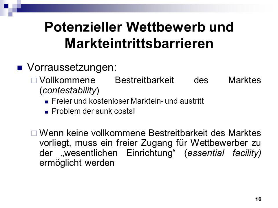 16 Potenzieller Wettbewerb und Markteintrittsbarrieren Vorraussetzungen: Vollkommene Bestreitbarkeit des Marktes (contestability) Freier und kostenlos