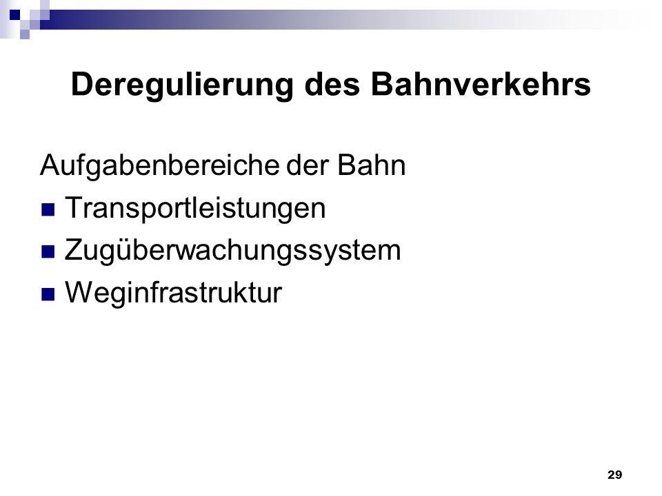 29 Deregulierung des Bahnverkehrs Aufgabenbereiche der Bahn Transportleistungen Zugüberwachungssystem Weginfrastruktur