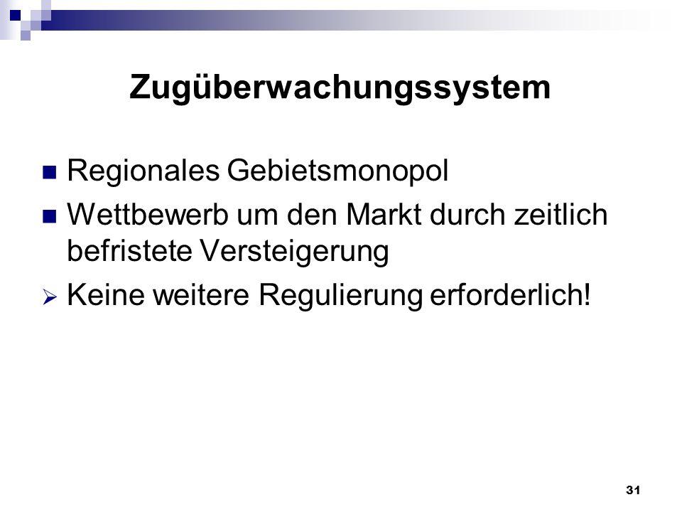 31 Zugüberwachungssystem Regionales Gebietsmonopol Wettbewerb um den Markt durch zeitlich befristete Versteigerung Keine weitere Regulierung erforderl