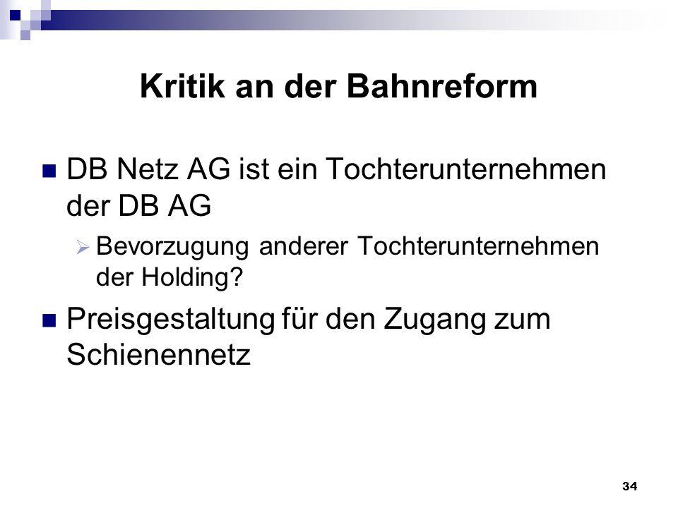 34 Kritik an der Bahnreform DB Netz AG ist ein Tochterunternehmen der DB AG Bevorzugung anderer Tochterunternehmen der Holding? Preisgestaltung für de