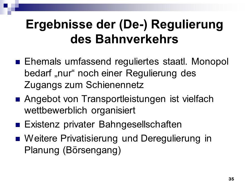 35 Ergebnisse der (De-) Regulierung des Bahnverkehrs Ehemals umfassend reguliertes staatl. Monopol bedarf nur noch einer Regulierung des Zugangs zum S