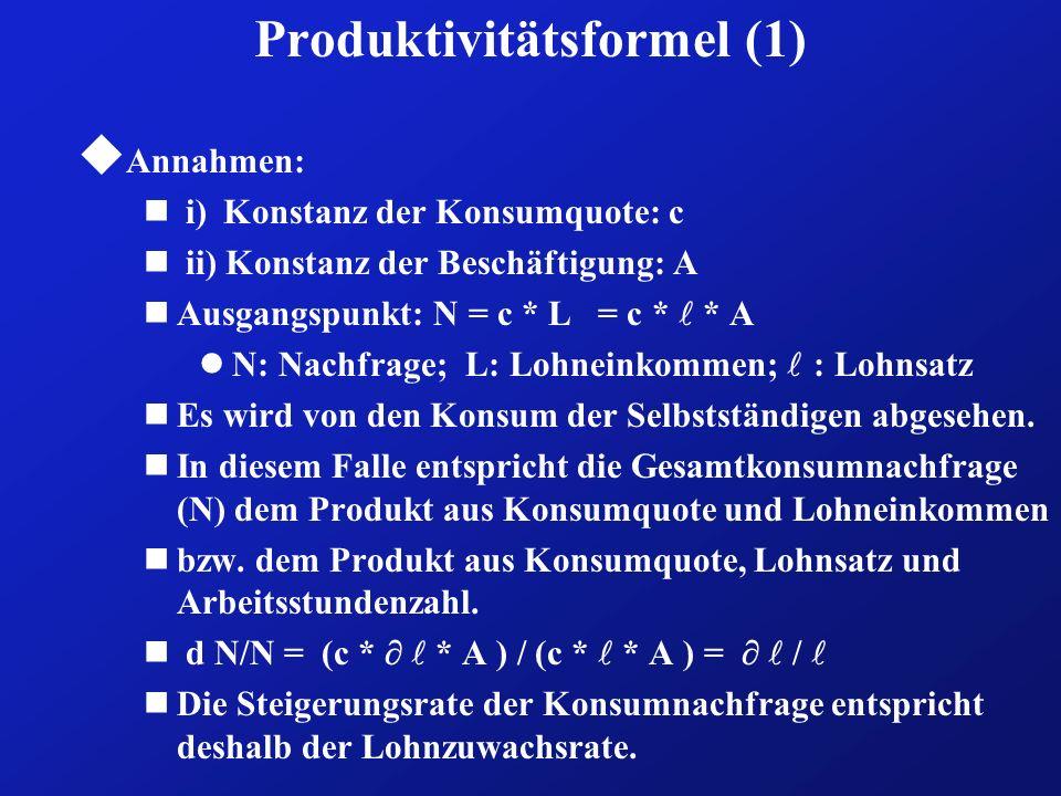 Produktivitätsformel (1) u Annahmen: n i)Konstanz der Konsumquote: c n ii) Konstanz der Beschäftigung: A Ausgangspunkt: N = c * L = c * * A N: Nachfra