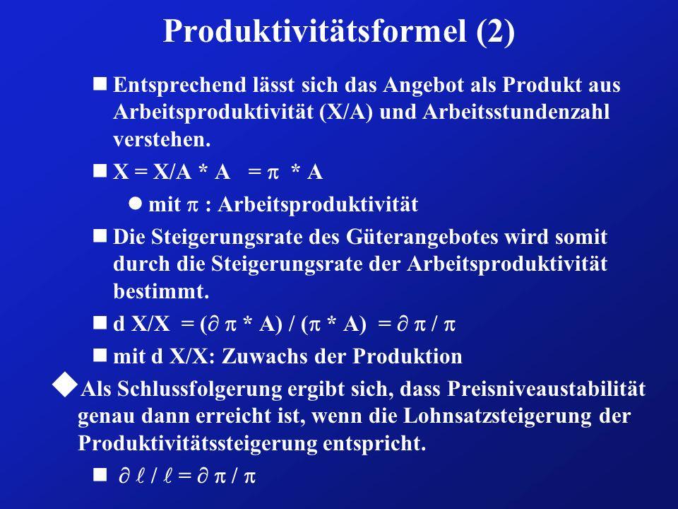 Produktivitätsformel (2) nEntsprechend lässt sich das Angebot als Produkt aus Arbeitsproduktivität (X/A) und Arbeitsstundenzahl verstehen. nX = X/A *