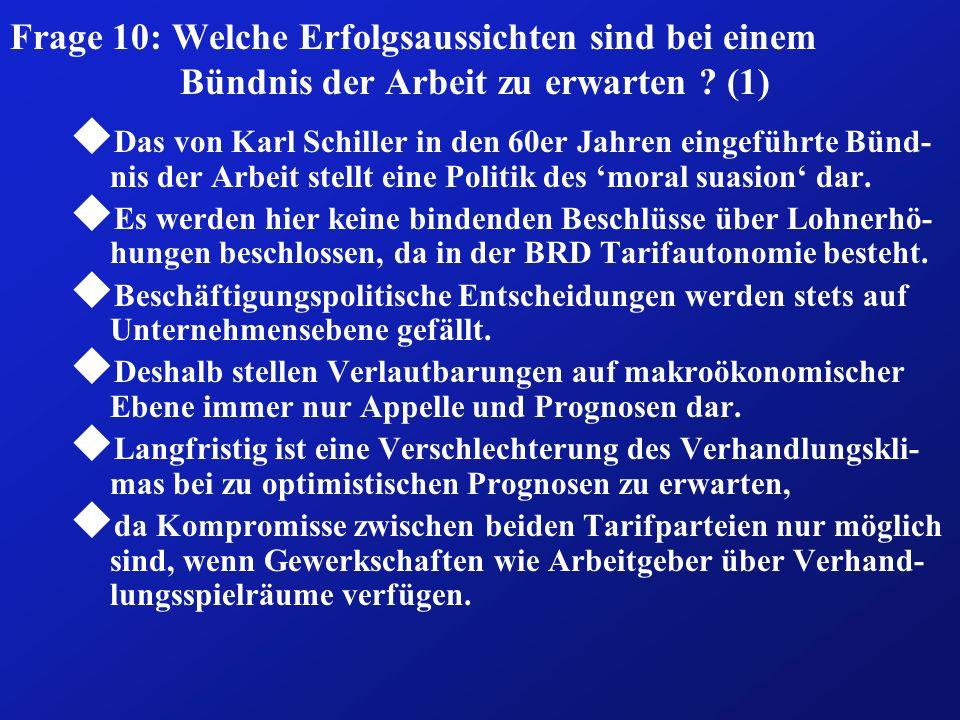 Frage 10: Welche Erfolgsaussichten sind bei einem Bündnis der Arbeit zu erwarten ? (1) u Das von Karl Schiller in den 60er Jahren eingeführte Bünd- ni
