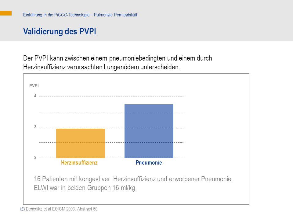 123 16 Patienten mit kongestiver Herzinsuffizienz und erworbener Pneumonie. ELWI war in beiden Gruppen 16 ml/kg. Validierung des PVPI Einführung in di