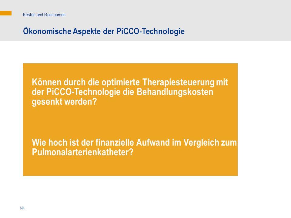 144 Ökonomische Aspekte der PiCCO-Technologie Kosten und Ressourcen Können durch die optimierte Therapiesteuerung mit der PiCCO-Technologie die Behand