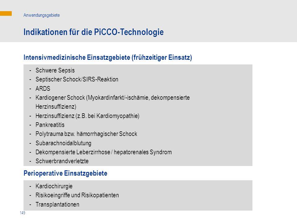 149 Intensivmedizinische Einsatzgebiete (frühzeitiger Einsatz) Indikationen für die PiCCO-Technologie Anwendungsgebiete - Schwere Sepsis - Septischer